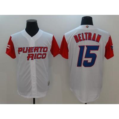 Puerto Rico Baseball 15 Carlos Beltran White 2017 World Baseball Classic Jersey