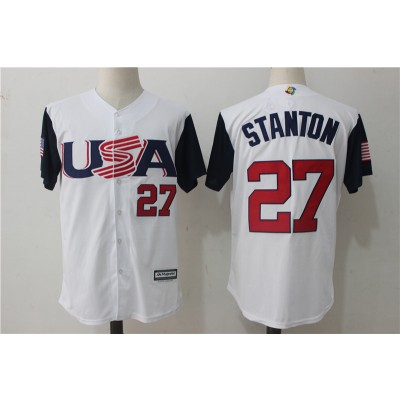 USA Baseball 27 Giancarlo Stanton White 2017 World Baseball Classic Jersey