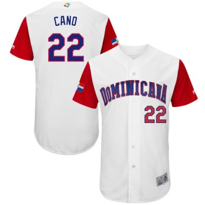 Men's Dominican Republic Baseball 22 Robinson Cano White 2017 World Baseball Classic Jersey