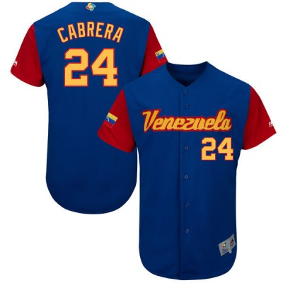 Men's Venezuela Baseball 24 Miguel Cabrera Blue 2017 World Baseball Classic Jersey