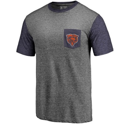 Men's Chicago Bears Pro Line by Fanatics Branded Heathered GrayNavy Refresh Pocket T-Shirt