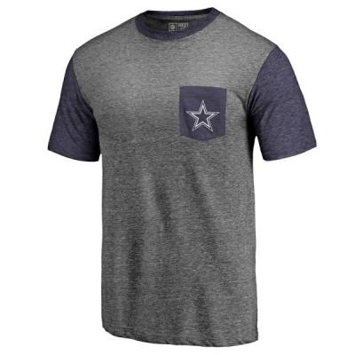 Men's Dallas Cowboys Pro Line by Fanatics Branded Heathered GrayNavy Refresh Pocket T-Shirt