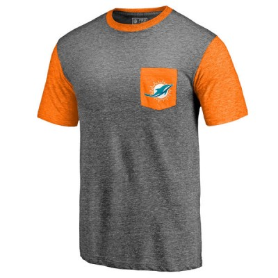 Men's Miami Dolphins Pro Line by Fanatics Branded Heathered GrayOrange Refresh Pocket T-Shirt