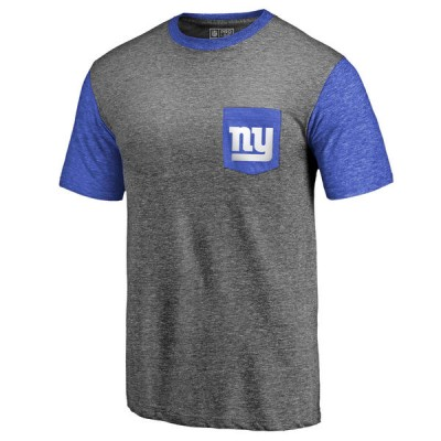 Men's New York Giants NFL Pro Line by Fanatics Branded Heathered GrayRoyal Refresh Pocket T-Shirt