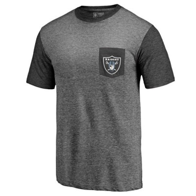 Men's Oakland Raiders NFL Pro Line by Fanatics Branded Heathered GrayGreen Refresh Pocket T-Shirt