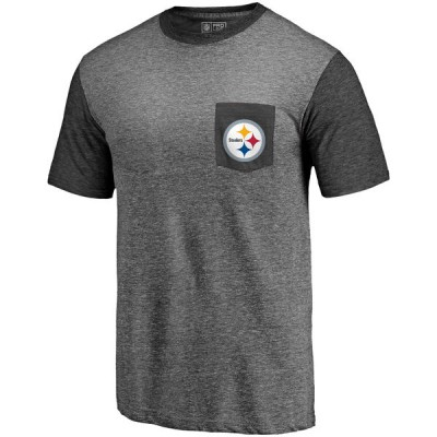 Men's Pittsburgh Steelers Pro Line by Fanatics Branded Heathered GrayBlack Refresh Pocket T-Shirt