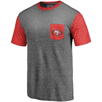 Men's San Francisco 49ers Pro Line by Fanatics Branded Heathered GrayScarlet Refresh Pocket T-Shirt