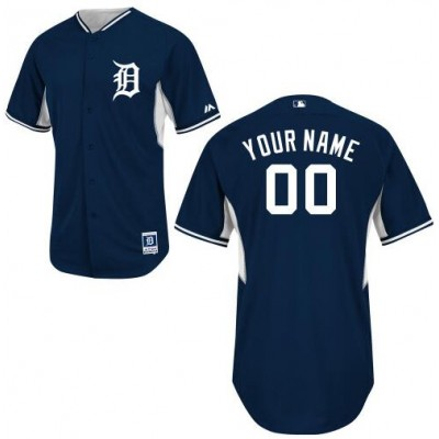 Detroit Tigers Authentic Personalized Navy Blue BP Mens Jersey