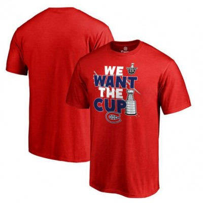 Montreal Canadiens Fanatics Branded 2017 NHL Stanley Cup Playoff Participant Blue Line Red T-Shirt