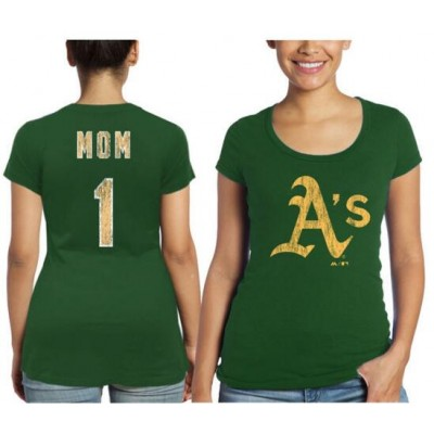 Oakland Athletics Majestic Threads Women's Mother's Day #1 Mom Green T-Shirt