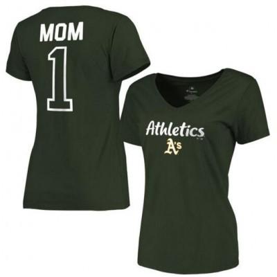Oakland Athletics Women's 2017 Mother's Day #1 Mom V-Neck Green T-Shirt