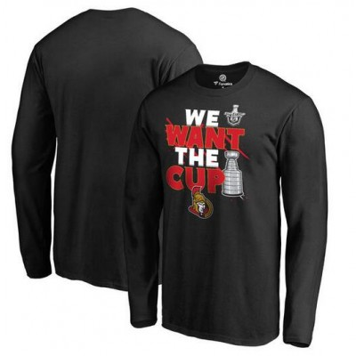 Ottawa Senators Fanatics Branded 2017 NHL Stanley Cup Playoffs Participant Blue Line Long Sleeve Black T-Shirt