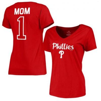 Philadelphia Phillies Women's 2017 Mother's Day #1 Mom V-Neck Red T-Shirt