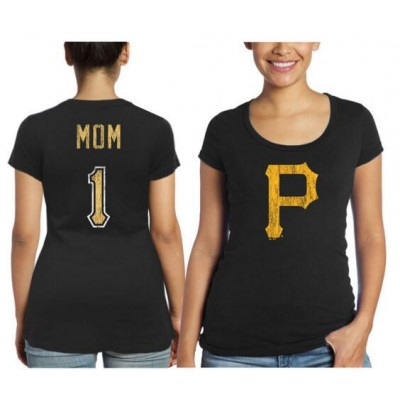 Pittsburgh Pirates Majestic Threads Women's Mother's Day #1 Mom Black T-Shirt