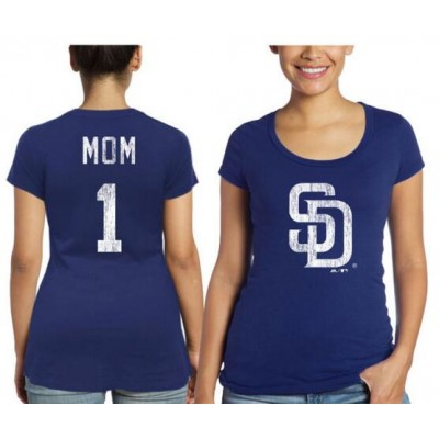 San Diego Padres Majestic Threads Women's Mother's Day #1 Mom Navy Blue T-Shirt