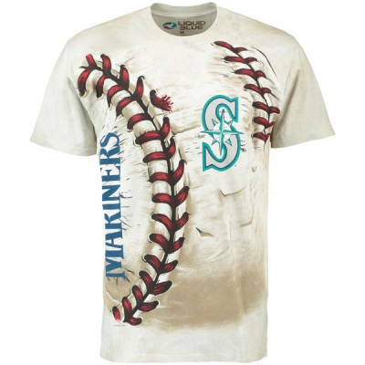 Seattle Mariners Hardball Tie-Dye Cream T- Shirt