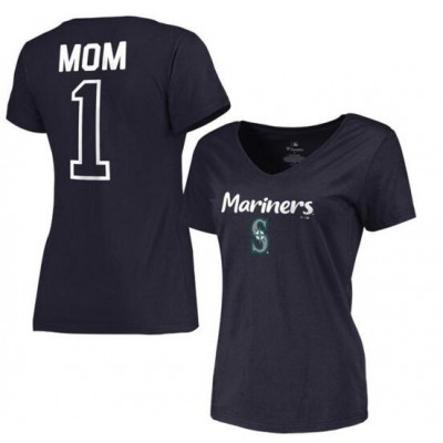 Seattle Mariners Women's 2017 Mother's Day #1 Mom V-Neck Navy T-Shirt