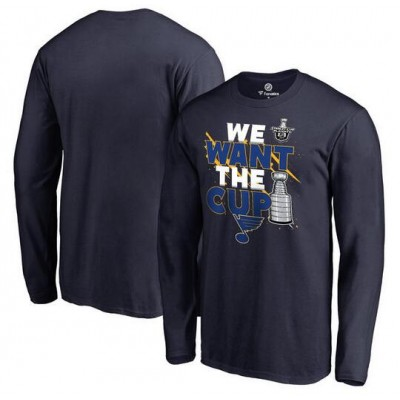 St. Louis Blues Fanatics Branded 2017 NHL Stanley Cup Playoff Participant Blue Line Long Sleeve Navy T-Shirt