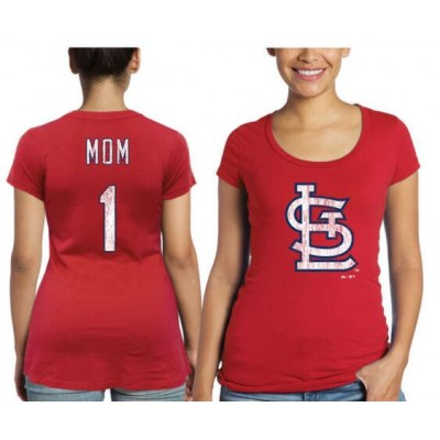 St. Louis Cardinals Majestic Threads Women's Mother's Day #1 Mom Red T-Shirt