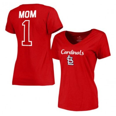St. Louis Cardinals Women's 2017 Mother's Day #1 Mom V-Neck Red T-Shirt