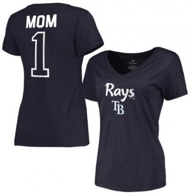Tampa Bay Rays Women's 2017 Mother's Day #1 Mom V-Neck Navy T-Shirt
