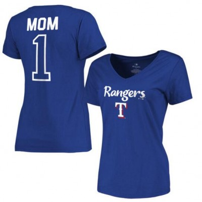 Texas Rangers Women's 2017 Mother's Day #1 Mom V-Neck Royal T-Shirt