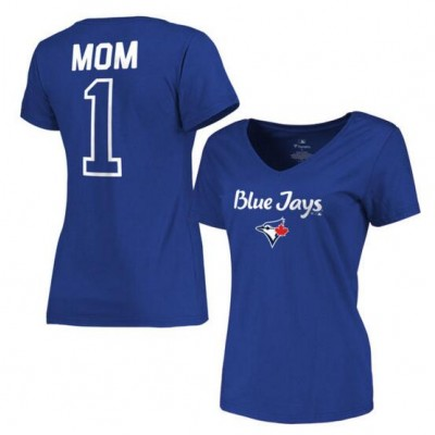 Toronto Blue Jays Women's 2017 Mother's Day #1 Mom V-Neck Royal T-Shirt