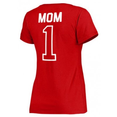 Washington Nationals Women's 2017 Mother's Day #1 Mom V-Neck Red T-Shirt