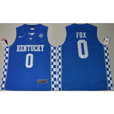 NCAA Kentucky Wildcats 0 De'Aaron Fox Blue Basketball Men Jersey
