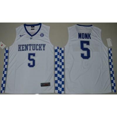 NCAA Kentucky Wildcats 5 Malik Monk White Basketball Men Jersey