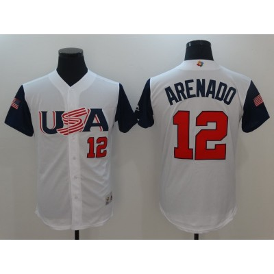Men's USA Baseball 12 Nolan Arenado White 2017 World Baseball Classic Jersey