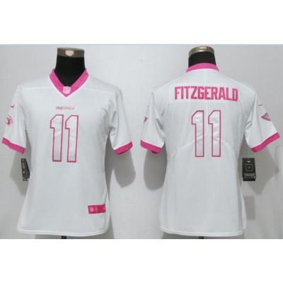 Nike Cardinals 11 Larry Fitzgerald White Pink Women Game Jersey
