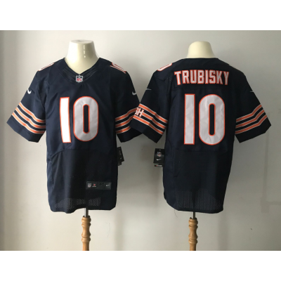 Nike Chicago Bears 10 Mitchell Trubisky 2017 NFL Draft Navy Blue Elite Jersey