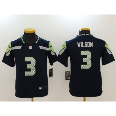 Nike Seahawks 3 Russell Wilson Navy Vapor Untouchable Youth Limited Jersey
