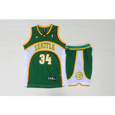 NBA Supersonics 34 Ray Allen Green Swingman Men Jersey With Shorts