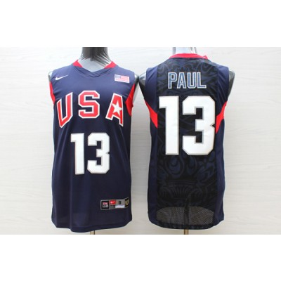 Basketball Team USA 13 Chris Paul Navy Nike Men Jersey