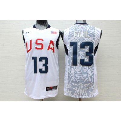 Basketball Team USA 13 Chris Paul White Nike Men Jersey