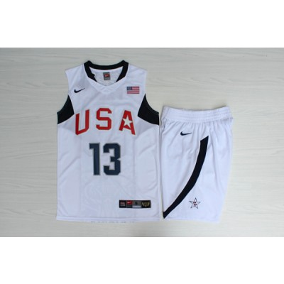 Basketball Team USA 13 Chris Paul White Nike Men Jersey With Shorts