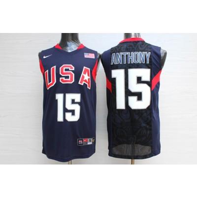 Basketball Team USA 15 Carmelo Anthony Navy Nike Men Jersey