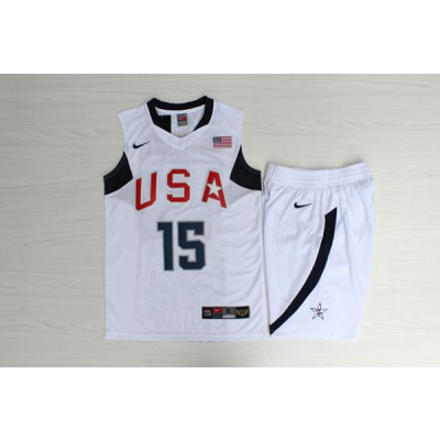 Basketball Team USA 15 Carmelo Anthony White Nike Men Jersey With Shorts