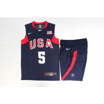Basketball Team USA 5 Jason Kidd Navy Nike Men Jersey With Shorts