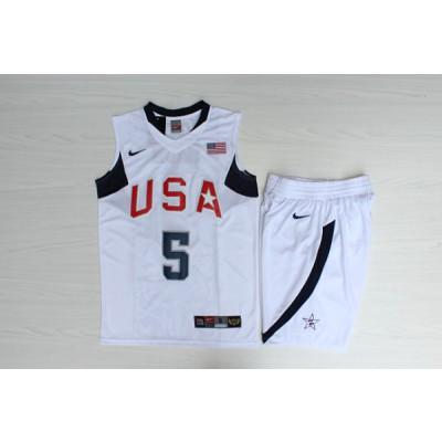 Basketball Team USA 5 Jason Kidd White Nike Men Jersey With Shorts