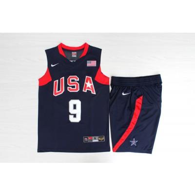 Basketball Team USA 9 Dwyane Wade Navy Nike Men Jersey With Shorts