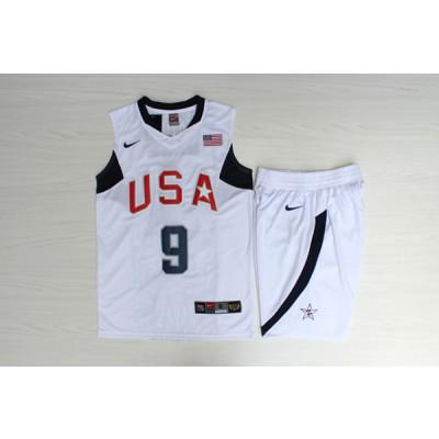 Basketball Team USA 9 Dwyane Wade White Nike Men Jersey With Shorts