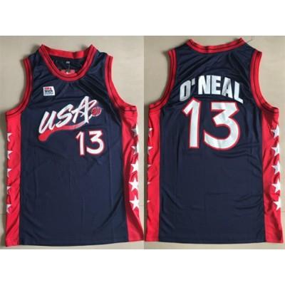 Basketball Team USA 13 Shaquille O'Neal Navy Team III Men Jersey