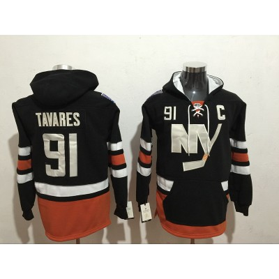 NHL Islanders 91 John Tavares Black All Men Hooded Sweatshirt