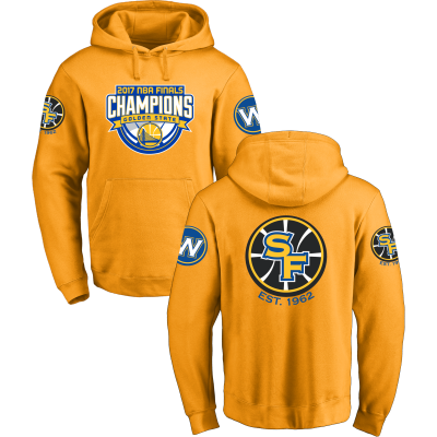 Golden State Warriors Fanatics Branded 2017 NBA Finals Champions Design Your Own Yellow Pullover Hoodie
