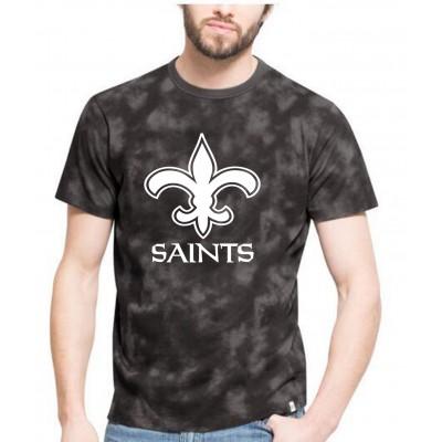 NFL Saints Team Logo Black Camo Men's T Shirt