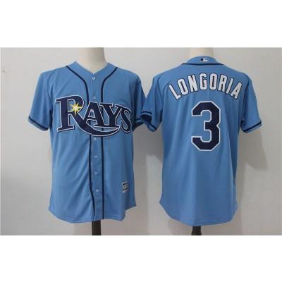 MLB Rays 3 Evan Longoria Light Blue New Cool Base Men Jersey