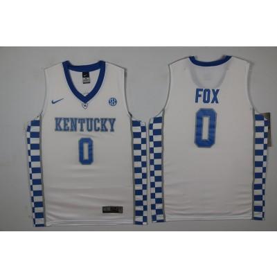 NCAA Kentucky Wildcats 0 De'Aaron Fox White Basketball Men Jersey